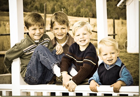 boys porch sepia