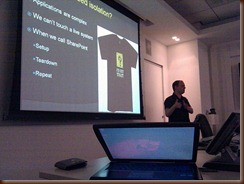 Gil presenting on why Mario T Shirts are so popular