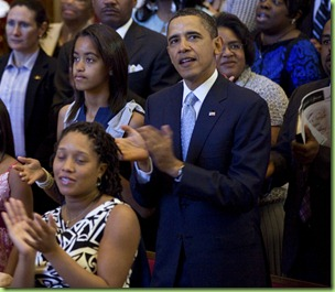 President Barack Obama, First Lady Michelle Obama, and daughters Malia and Sasha attend Easter church service at Shiloh Baptist Church in Washington, D.C., Sunday, April 24, 2011.