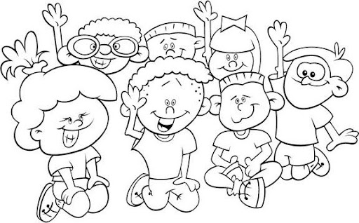 Niños de la Mano Para Colorear
