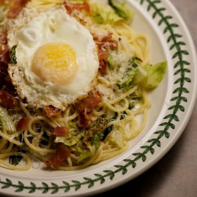 Spaghetti with Romaine and Fried Egg