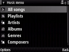 Music playlist in E71 in the media player