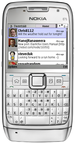 Screenshot of Tweets60 running on E71