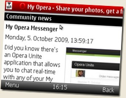 Nokia E71 Opera Mini screenshot
