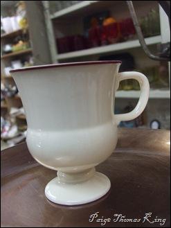 creamware mug, red trim