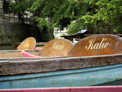Punts with girls' names on them in Oxford