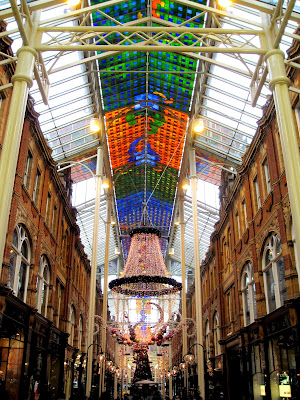 Shopping arcade in Leeds England decorated for Christmas