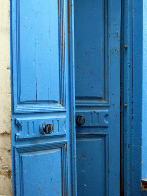 Blue door in Tunis medina