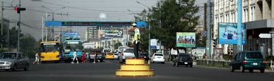 Policeman directing traffic in Ulaanbaatar Mongolia