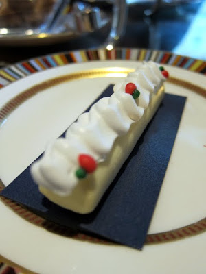 Yves Saint Laurent-inspired white chocolate mousse cake at afternoon tea in London