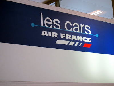 Sign for Air France buses from CDG to Paris