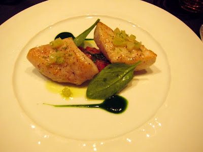 Fish main course at La Table de Joel Robuchon restaurant in Paris France