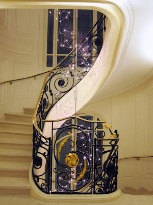 Staircase at Hotel Le Bristol in Paris France