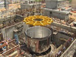 Core of India's Fast Breeder Nuclear Reactor being transported & lowered into the safety vessel