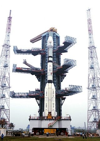Geosynchronous Satellite Launch Vehicle [GSLV] standing at the launchpad at the Satish Dhawan Space Centre, Sriharikota