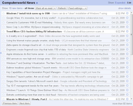Google Reader sorted by magic