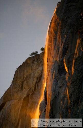 美國加州 火瀑布 Yosemite National Park