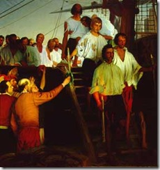 Óleo sobre lienzo pintado en 1919 por Elías Salaverría representa  el momento en que Elcano y la tripulación del Victoria desembarcan en Sevilla