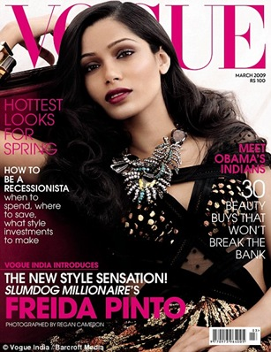 Freida Pinto Vogue India March 2009 cover photo