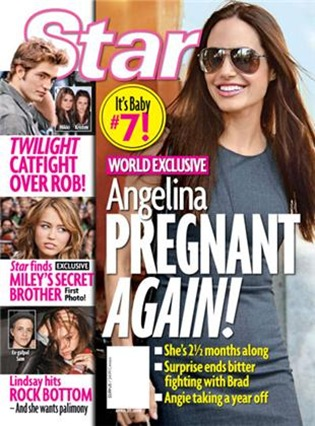 Angelina Jolie Pregnant With Baby number 7 star magazine cover picture