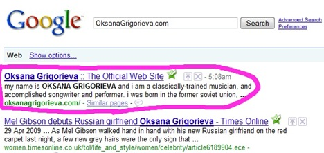 OksanaGrigorieva dot com google search screen grab