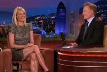 Gwyneth Paltrow Shiny Legs on The Tonight Show with Conan OBrien photo