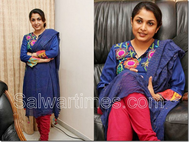 Ramya_Krishna_Blue_Designer_Salwar_kameez