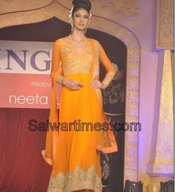 orange designer salwar kameez by neeta lulla salwartimes