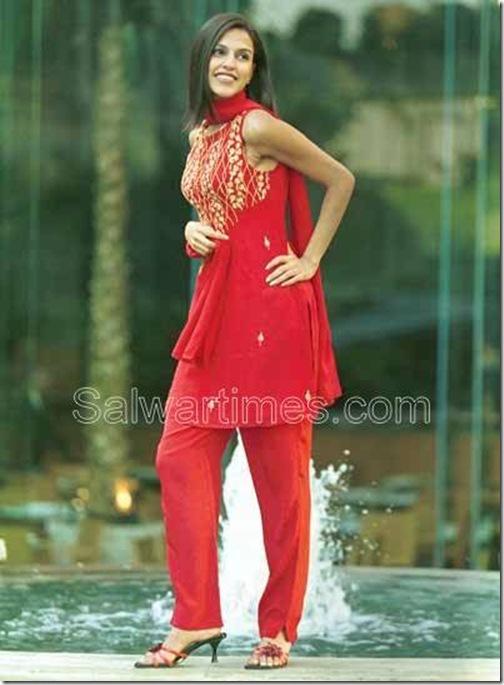 Neha_Dhupia_Red_designer_salwar_kameez