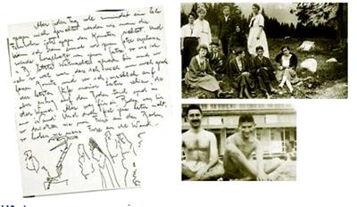 Ο Φραντς Κάφκα  (καθισµένος δεξιά), µαζί  µε φίλους και προσωπικό  του σανατορίου στο οποίο  φιλοξενήθηκε από τον  Δεκέµβριο του 1920 έως  τον Αύγουστο του 1921.  Αριστερά, µε τον φίλο του  Μαξ Μπροντ, τον οποίο  γνώρισε το 1902 στο  Γερµανικό Πανεπιστήµιο  της Πράγας