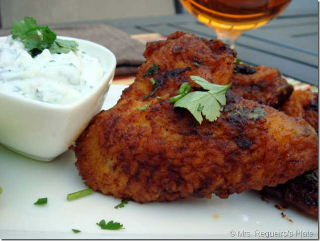 Hot Wings with Blue Cheese Yogurt Sauce