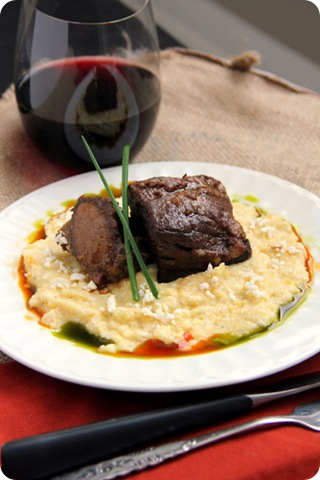 Chile Rubbed Short Ribs with Creamy Polenta