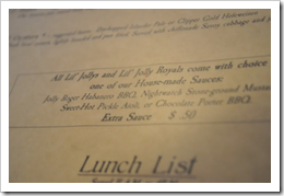 image of Maritime Pacific's Jolly Roger Taproom menu courtesy of our Picasa page