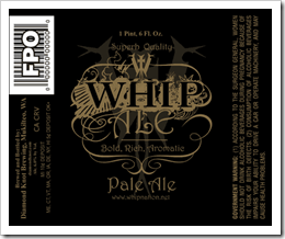 image of Whip Pale Ale's pending bottle label courtesy of Beernews.org