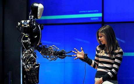 Berti Bristol Elumotion Robotic Torso 1 with Young Girl Having Fun