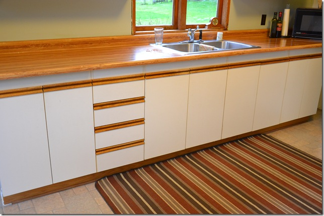 European cupboard doors with white melamine fronts and oak trim rails before