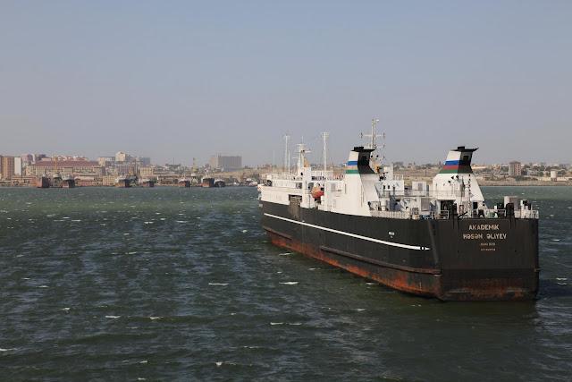 Baku, Azerbijan, as we first saw it from the ferry, after crossing the caspian sea.jpg