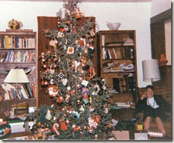 Christmas tree and Lyn Strandskov on Lyndale 1988