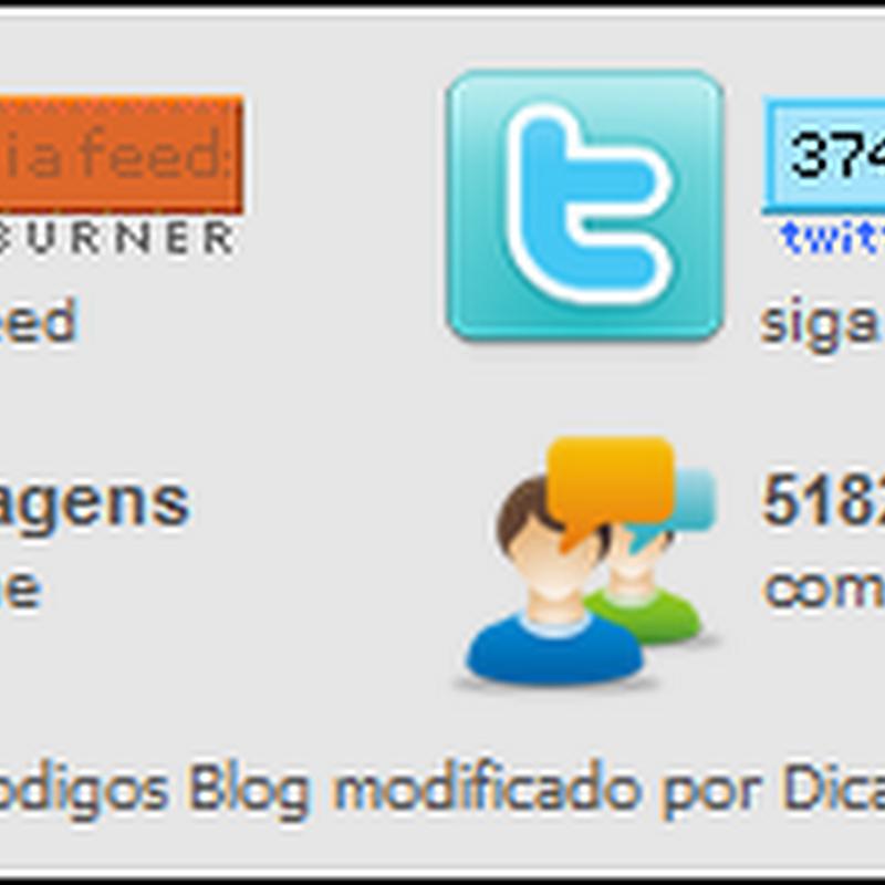 Widget – feeds, seguidores, posts e comentários