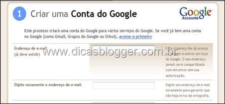 Criando a conta do Google