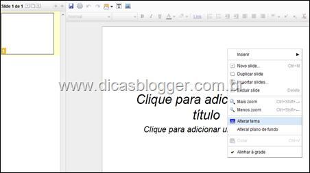 Configurando os slides