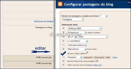 configurando postagens