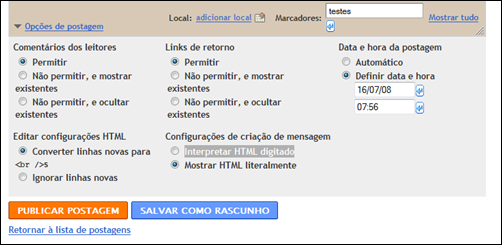 editor de textos do Blogger in Draft
