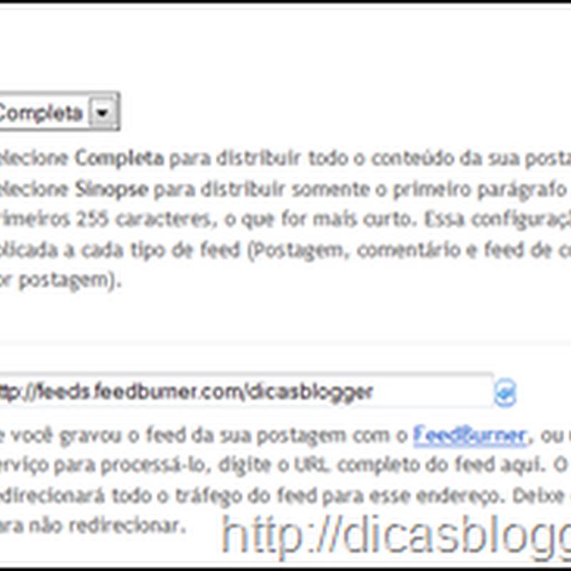 Outras configurações do painel do Blogger