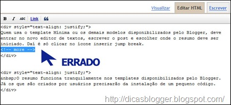 Código html do texto