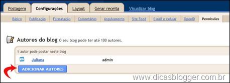 adicionando autores
