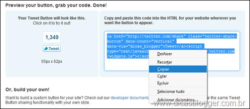 Código do Tweet Button