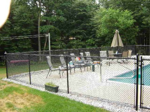 black chain link pool fence - Pool Fence Installation