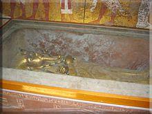 Replica del sarcófago de Tutankhamón en el Valle de los Reyes