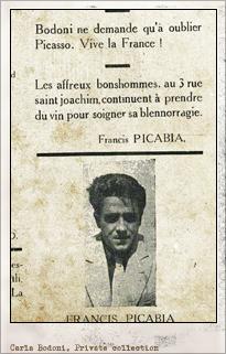 Carla Bodoni en Dada. París: n.7, marzo 1920. Editada por Tristan Tzara. Pulsar para ver la imagen completa